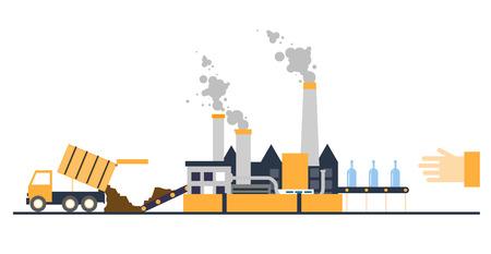 cesto basura: Reciclaje de desechos de basura camión trajo a los residuos de procesamiento de planta de procesamiento Vectores