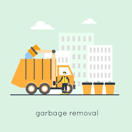 basura: La recolección de basura en la ciudad. Diseño plano. Vectores