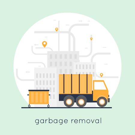 garbage collection: Garbage collection in the city. Flat design.
