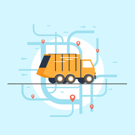 garbage collection: Garbage collection in city. Flat design. Illustration