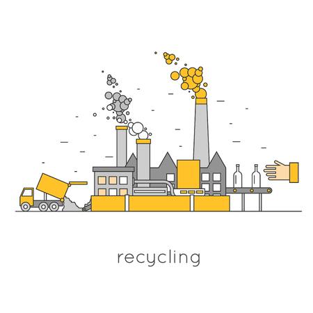basura: Delgada línea de reciclaje de residuos. camión de la basura presentada a los residuos procesados ??planta de procesamiento. Diseño plano. Vectores