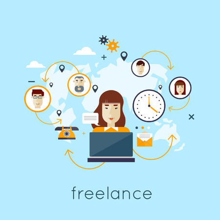 freelance: Networking between people from all over the world. Communication of different people from around the world. Freelance career. Flat illustration. Illustration