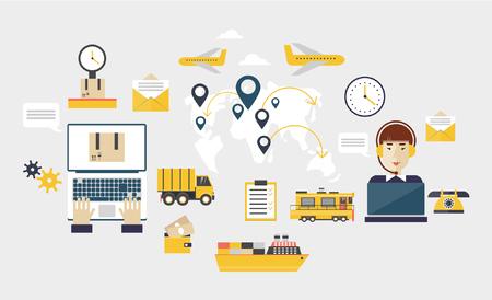 parcels: Logistic global transportation delivery. Operator controls the traffic around the world people send parcels. Flat design. Illustration