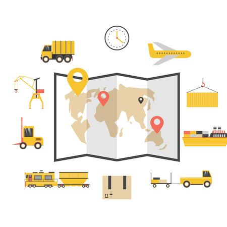 parcels: Cargo delivery of parcels logistic. Flat design.