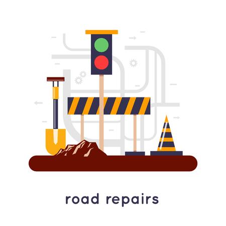 cone: Road repair construction tools, closed road, construction site. Flat design.