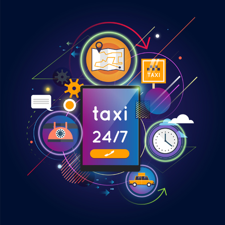 calls: Taxi call. Taxi service concept. Booking, payment. Set of flat icons. Flat design vector illustration. Illustration