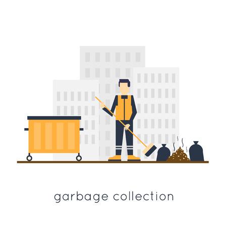 관리인은 도시에서 쓰레기를 거리를 청소합니다. 플랫 디자인.