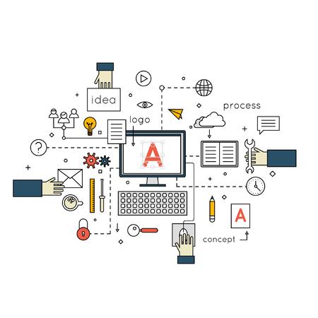 graficos: Conceptos delgada línea de proceso creativo, el logotipo y el diseño gráfico, la agencia de diseño. Diseñador de trabajo. Espacio de trabajo de Illustrator con herramientas y dispositivos. Ilustración Diseño plano. Vectores