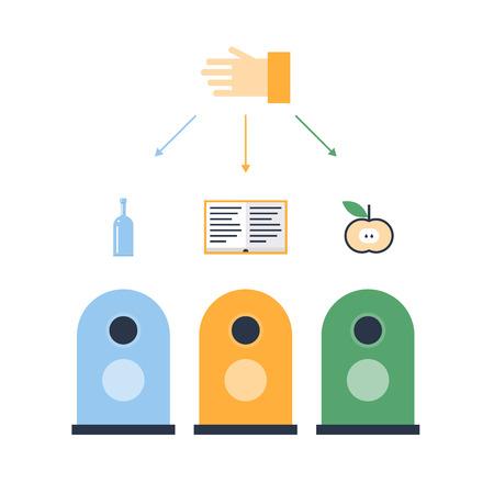 utilization: Sorting waste, waste bins flat design vector illustration.