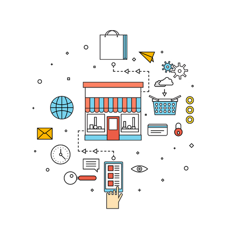 Thin line on-line Store, on-line shopping concept. Process of buying goods online. Pay per click. Material design. Flat design.