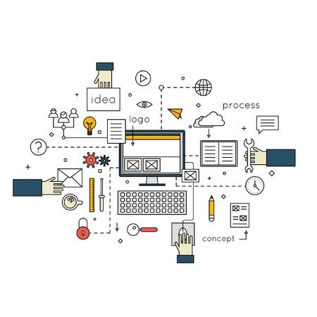 design process: Thin line Designer office workspace with tools concepts for creative process, graphic design, design agency. Designer working. Web site design. Flat design vector illustration.