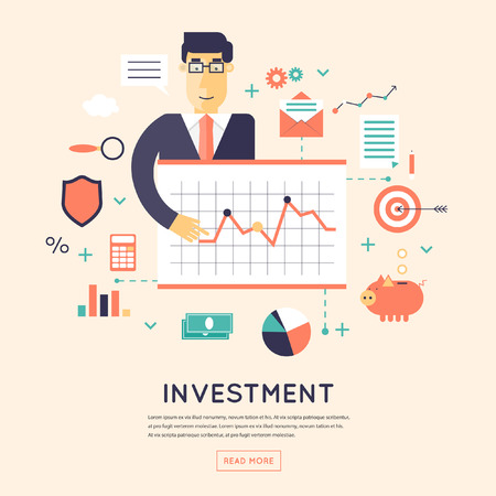 investment ideas: Making investments, growing business profit, strategic management, business, finance, consulting, building effective financial strategy. Flat design  illustration.