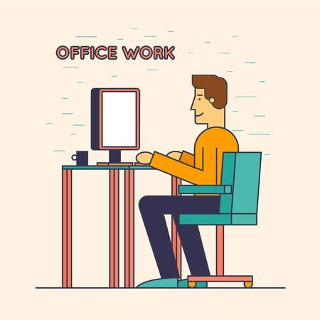 obrero trabajando: delgada línea Empleado de oficina sentado en la mesa y trabajar en el ordenador. ilustración de diseño plano.