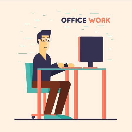 office computer: Office worker sitting at the table and working on the computer. Flat design  illustration.