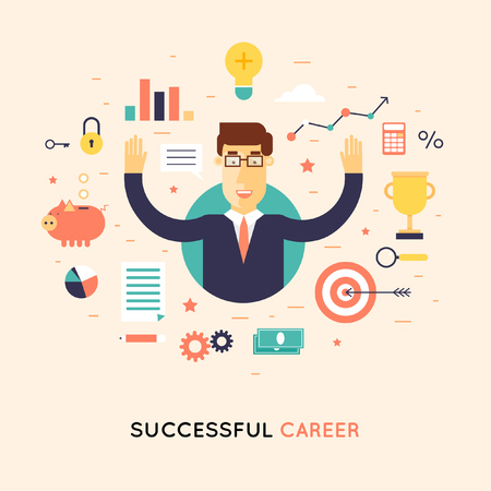 Successful career businessman. Flat design  illustration.