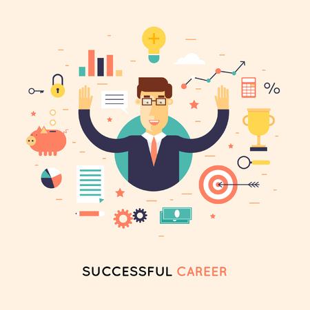 Succesvolle carrière zakenman. Platte ontwerp illustratie.