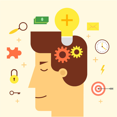 man head: Idea came to the head man, business idea, start-up, solution, inspiration. Flat style illustration
