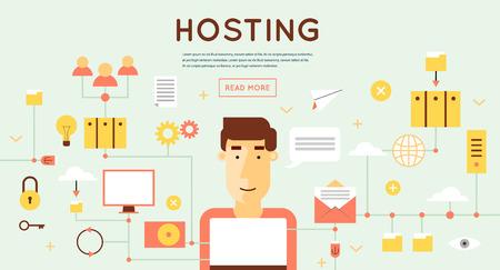 web security: File hosting, database server, data exchange, digital data center, file storage, file protection. Flat design.