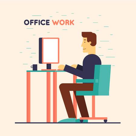 hombres trabajando: Empleado de oficina sentado en la mesa y trabajar en el equipo. Ilustración Diseño plano.