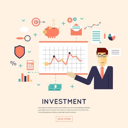 gestion: Hacer inversiones, crecimiento de beneficio empresarial, gestión estratégica, negocios, finanzas, consultoría, construcción de la estrategia financiera efectiva. Ilustración Diseño plano. Vectores