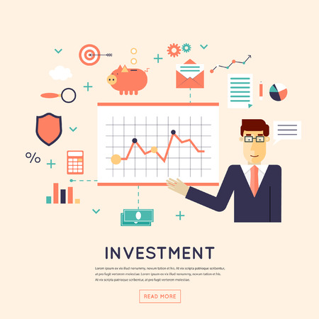 financial success: Making investments, growing business profit, strategic management, business, finance, consulting, building effective financial strategy. Flat design  illustration.