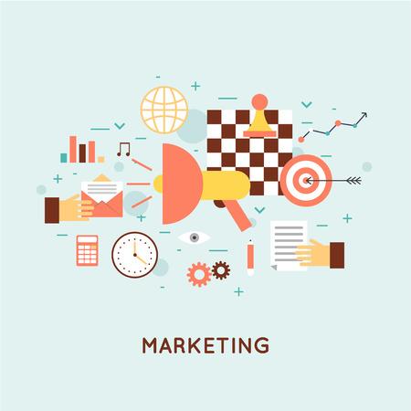 모바일, 이메일 마케팅, 비디오 마케팅, 디지털 마케팅, 전략 및 디지털 마케팅 마케팅. 플랫 디자인 일러스트 레이 션.