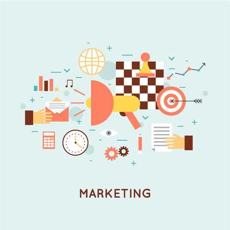 Marketing mobiel, e-mail marketing, video marketing en digitale marketing, strategie en digitale marketing. Platte ontwerp illustratie. Stock Illustratie