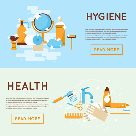 personal care: Personal daily hygiene shaving, washing, brushing your teeth, shower, bathroom. Flat design isolated illustration.