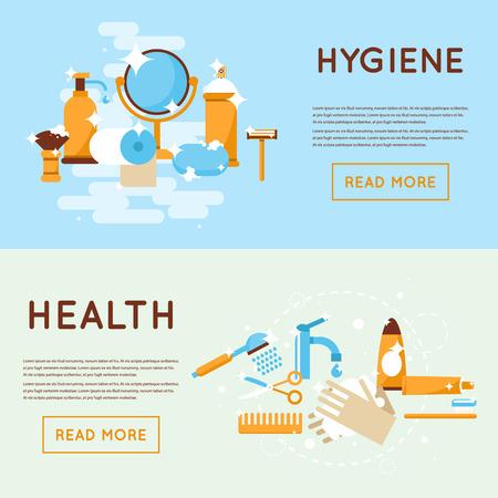 aseo personal: Personal diaria de afeitar higiene, lavado, lavarse los dientes, ducha, cuarto de baño. Diseño plano aislado Ilustración. Vectores