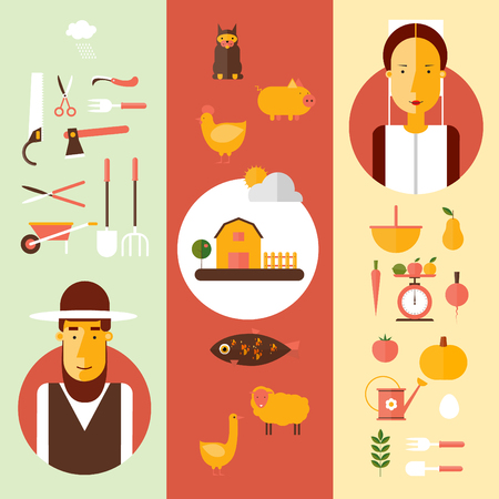 smock: Amish men and women and accessories for agriculture. Flat style illustration Illustration