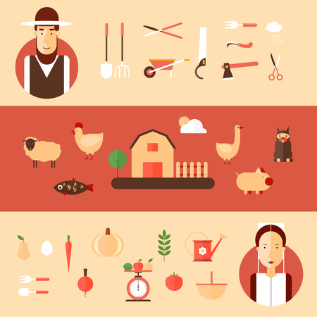 happy people faces: Amish men and women and accessories for agriculture. Flat style illustration Illustration