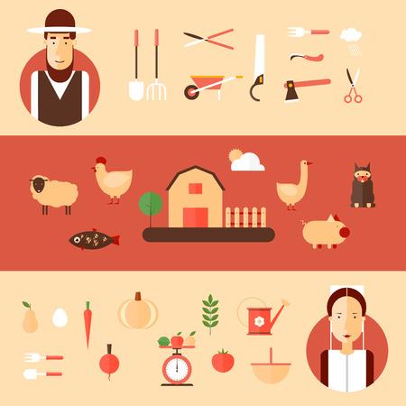 caras felices: Hombres y mujeres Amish y accesorios para la agricultura. Ilustraci�n de estilo Flat