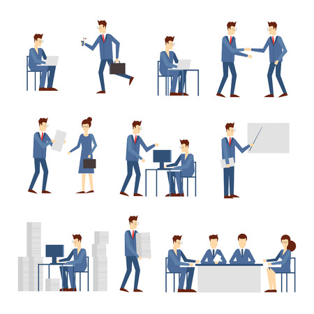 computer work: Business people in an office work, negotiate, program, hurry, work at the computer, reading the report, a lot of work stress. Flat design vector illustration.