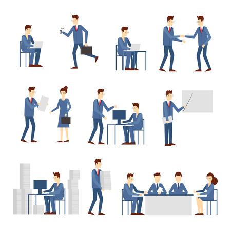 Mensen uit het bedrijfsleven in een kantoor werken, onderhandelen, programma, haast, werk op de computer, het lezen van het rapport, veel werkstress. Platte ontwerp vector illustratie.