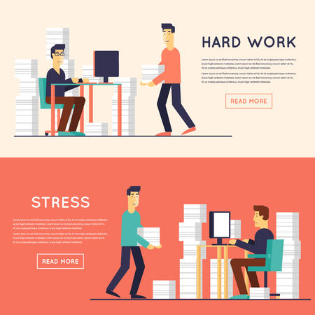 stack of papers: A lot of work and stress. A man working in the office at the computer.  Flat design illustration. Illustration