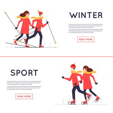 winter fun: Man and woman skiing and skate, winter sport, leisure winter. Flat design illustration. Illustration