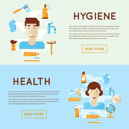 Personal daily hygiene shaving, washing, brushing your teeth, shower, bathroom. Flat design isolated  illustration.