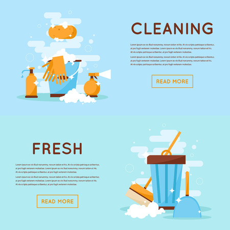 the maid: Cleaning tools, cleaning, order, freshness, purity, health. Flat design isolated illustration.