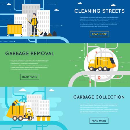 쓰레기 처리, 위생 작업, 쓰레기 수거, 청소, 분류, 처리 및 쓰레기의 재활용의 직원. 플랫 스타일 그림