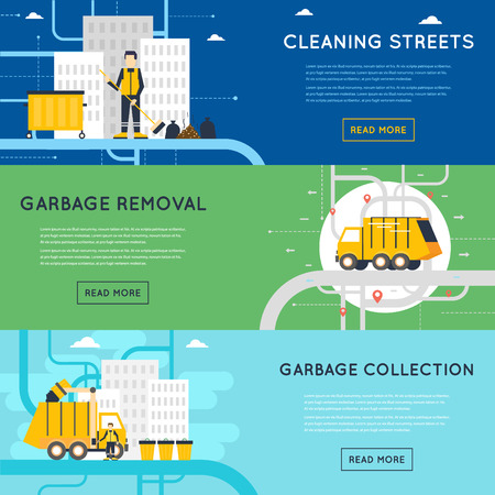 cesto basura: Disposición de basura, obras sanitarias, empleados de recolección de basura, limpieza, clasificación, tratamiento y reciclaje de basura. Ilustración de estilo Flat
