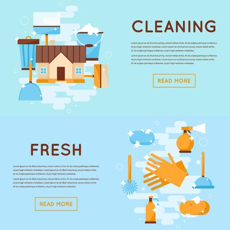 servicio domestico: Herramientas de limpieza, ilustración Casa de estilo cleaning.Flat