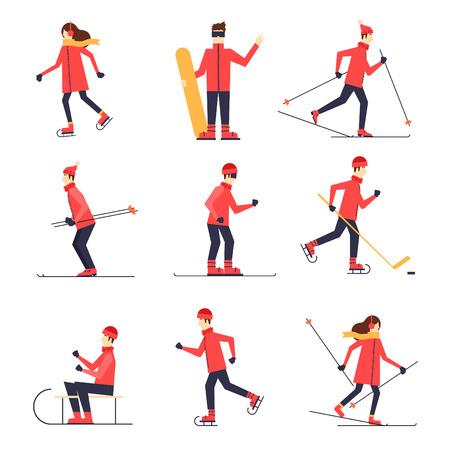 ilustracion: Las personas involucradas en el patinaje de los deportes de invierno, esquí, snowboard, hockey, trineo. Ilustración vectorial Diseño plano.
