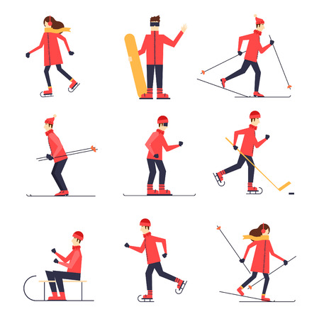 to ski: People involved in winter sports skating, skiing, snowboarding, hockey, sled. Flat design vector illustration. Illustration