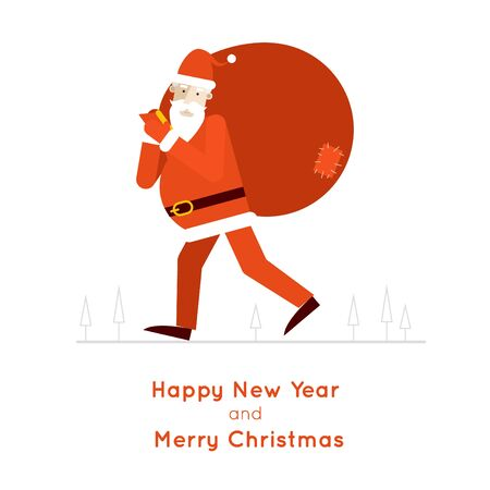 sacks: Santa Claus carries a bag with gifts isolated  illustration. Merry Christmas and Happy New Year. Flat design.
