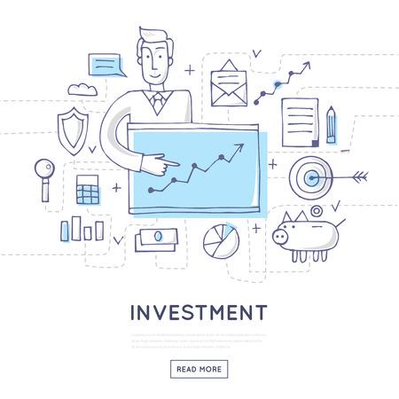 strategic management: Doodle design investments, business, finance, strategic management, consulting, funding, business profit. Flat style illustration