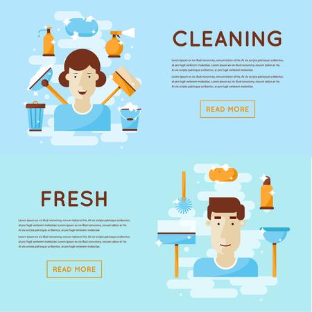 servicio domestico: Hombre y una mujer comprometida en la limpieza. Dise�o plano aislado Ilustraci�n. Vectores