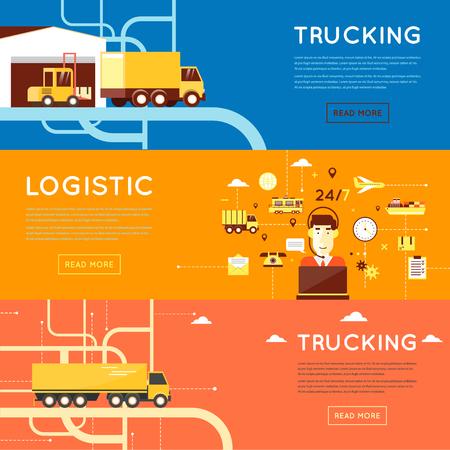 транспорт: Грузовые перевозки, оператор комплексное обслуживание, глобальный транспорт, логистика, службы доставки. 3 веб и рекламные материалы плоский дизайн. Иллюстрация