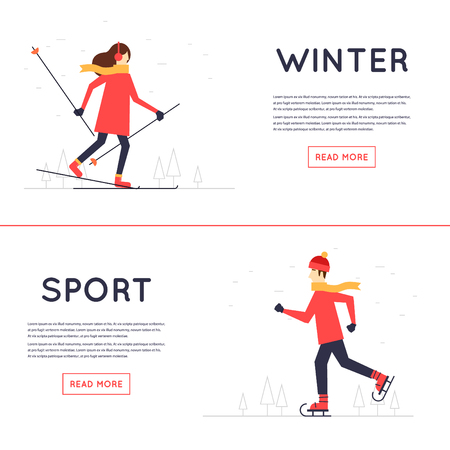 boots: Man and woman skiing, winter sport, leisure winter.Flat style illustration