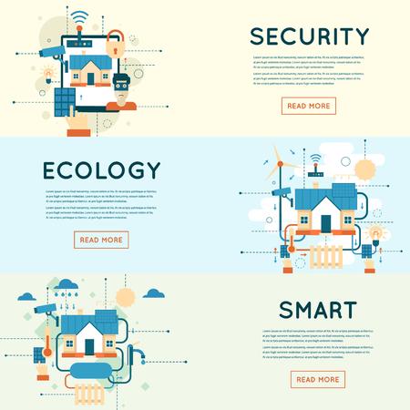 casa inteligente, sistema de tecnología de casa con la seguridad y el control centralizado de vídeo estilo de ilustración surveillance.Flat Ilustración de vector