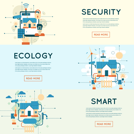 Smart home, house technology system with centralized control security and video surveillance.Flat style illustration Ilustração